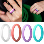 1Pc Colorful Silicone Ring Flexible Rubber Wedding Band Men Women Gifts Surprise