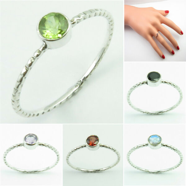 925 Silver PERIDOT & Other Gem, Stackable RING Size Berlin Beer Festival Sale