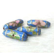 LT Blue w/ Pink Flower Cloisonne Enamel Chinese Small Cylinder Beads 18x6mm 4PCs