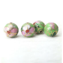 Mint Green Pink Flowers Cloisonne Chinese Enamel 10mm Round 4 Beads