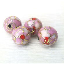 Shades of Pastel Pink Red Center Flowers Cloisonne Chinese Enamel 10mm  4PCs