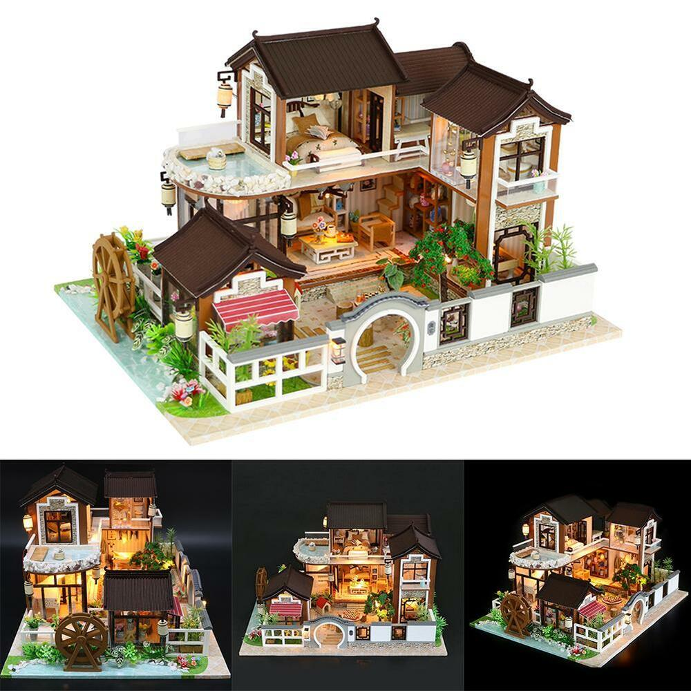 New Doll House Toy Miniature Wooden Doll House Loft With: DIY LED Loft Apartments Dollhouse Miniature Wooden