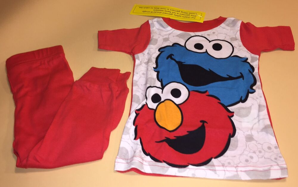 2d8ce0c9c Sesame Street Cookie Monster Elmo Toddler Boy Pajamas PJs 18 Months ...