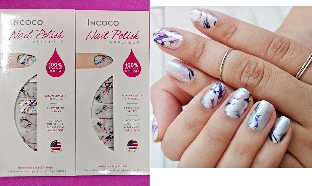 bfc41509517 2 Sets INCOCO Nail Polish Applique Apps Strips MASTERPIECE Multi Color  Swirl NEW 813796026976