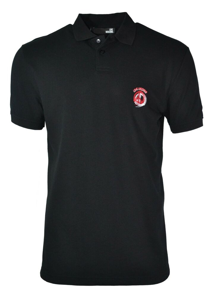983b4dd3d Details about LOVE MOSCHINO PEACE CHEST LOGO POLO SHIRT BLACK RED WHITE