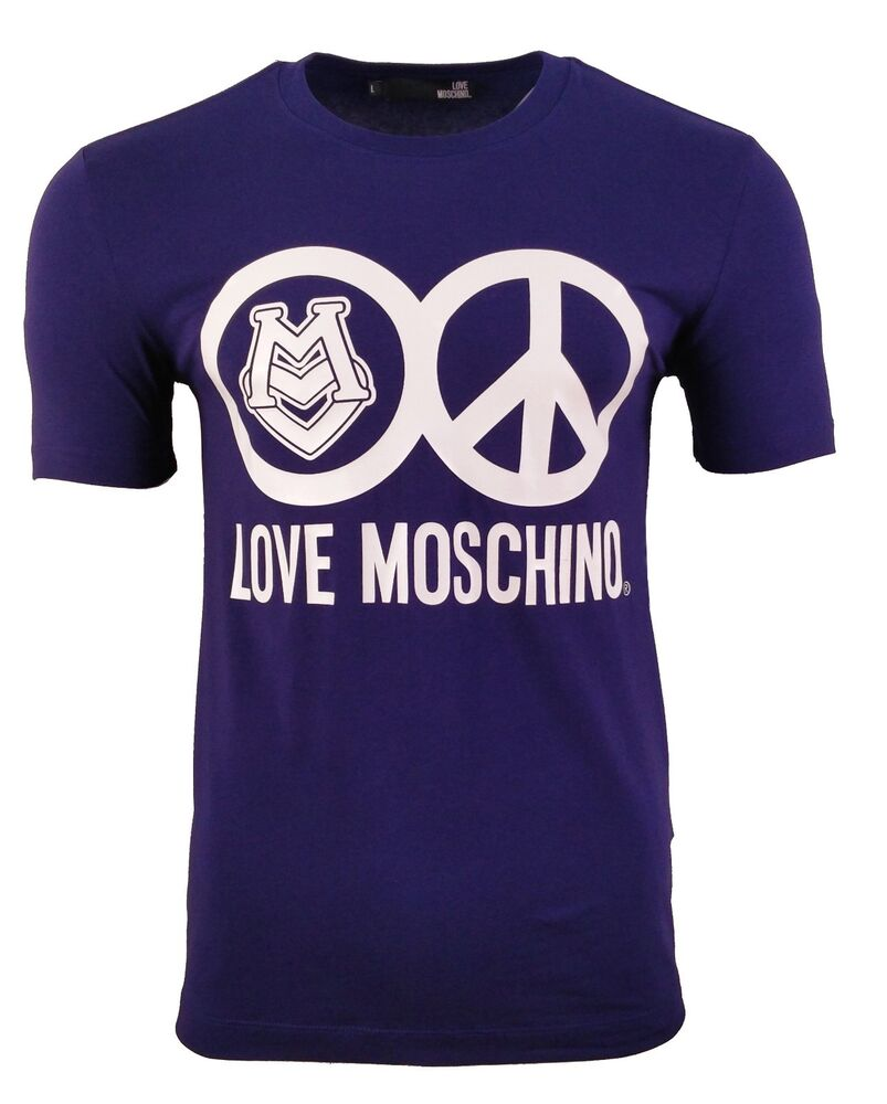 aa56242c BNWT LOVE MOSCHINO PEACE LOGO PRINT T-SHIRT NAVY BLUE & WHITE | eBay