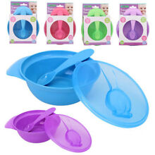 2 Sets Baby Feeding Bowl Dish Spoon Seal Lid Kids Plate Toddler Child BPA Free
