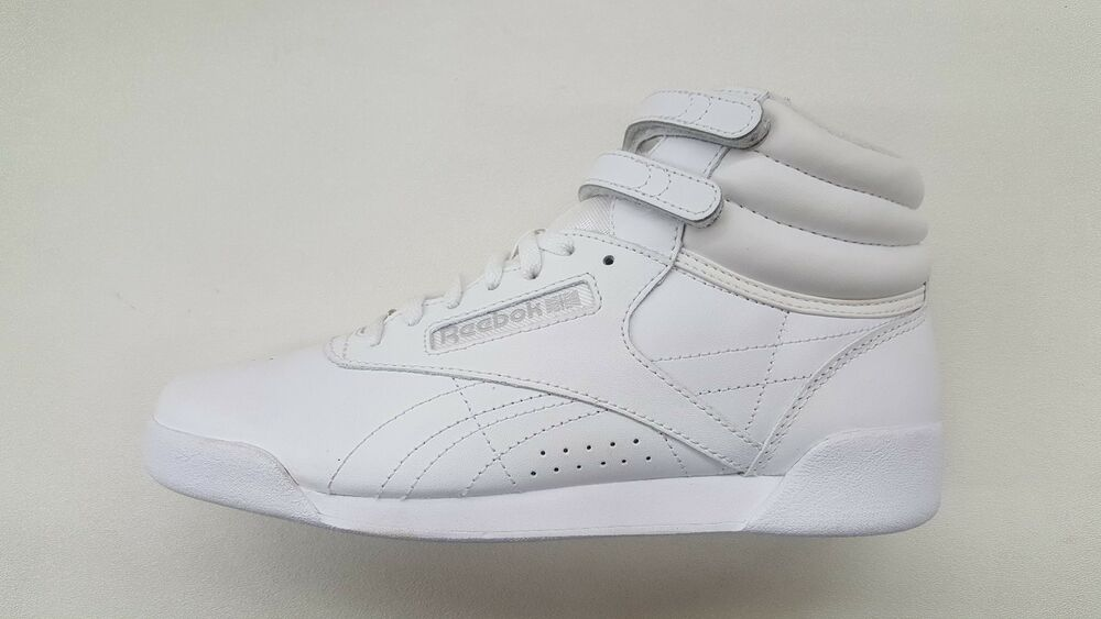 007ec6253a447f Details about REEBOK FREESTYLE HI ALL WHITE LEATHER SILVER BIG KIDS SIZE RETRO  SNEAKERS J93534