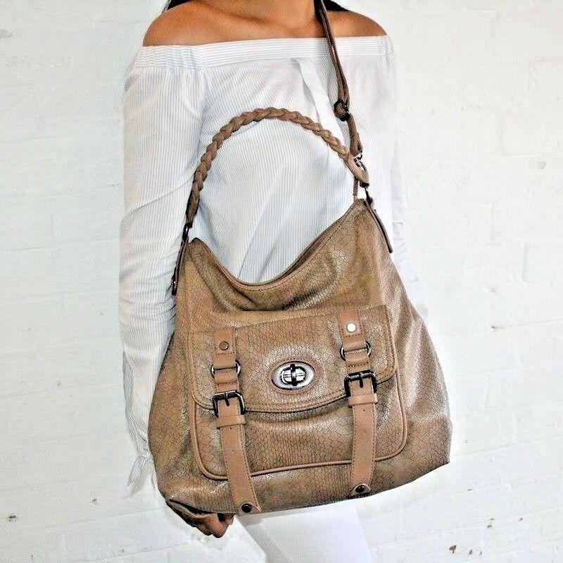 9efde2abb337 Details about Fashion Handbag tote bag in brown with all over Reptile Print  and outside pocket