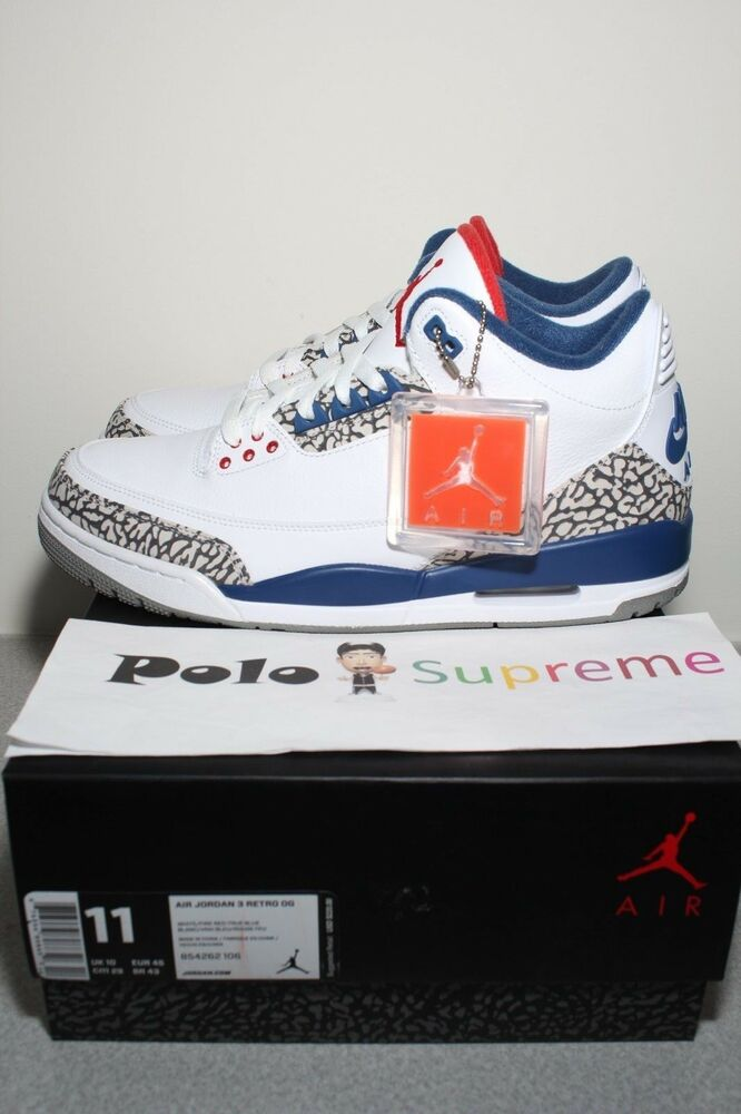 fc0a7dd4ef37 Details about Nike Air Jordan 3 III Retro OG True Blue White Cement All  Star Kobe 854262-106