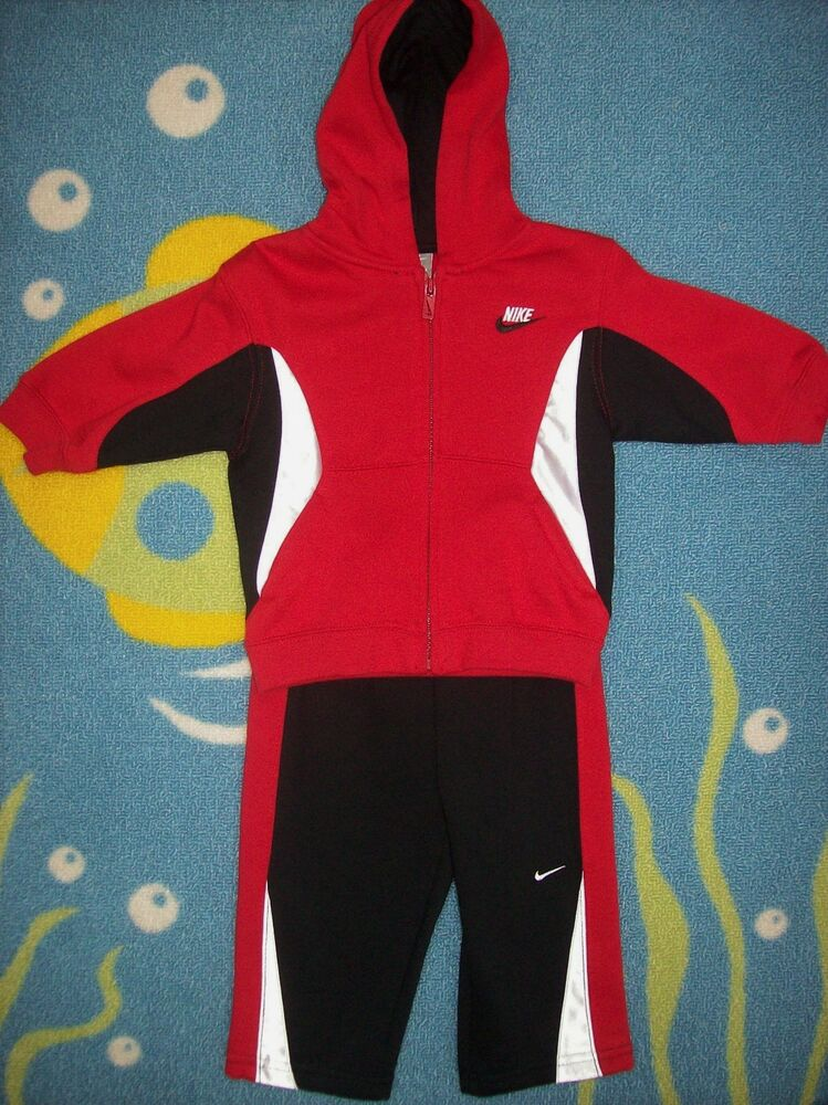 1781d95fe Details about Nike Outfit 2pc Sweatsuit Set 12 Mos Unisex Black Red White  Swoosh Signature New