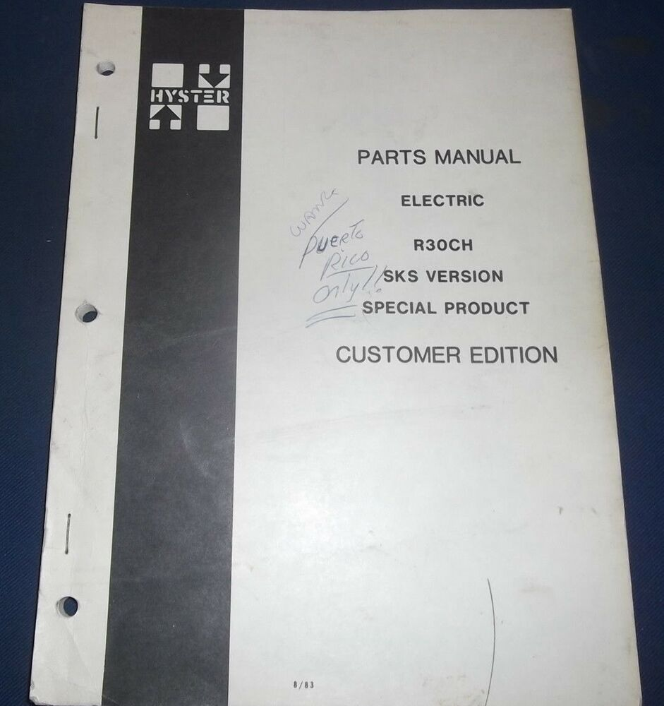 HYSTER R30CH SKS VERSION SPECIAL PRODUCT FORKLIFT LIFT TRUCK PARTS MANUAL  BOOK | eBay