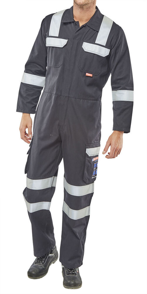 7a71b5df2fd Details about Click Arc Fire Flame Retardant Navy Boiler Suit Overall High  Visibility Welding