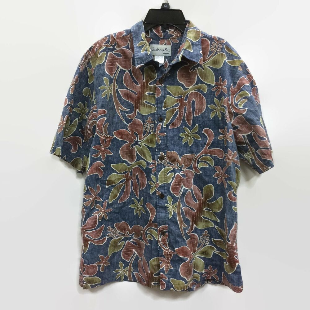 2bd1acb2b Details about Bishop St Apparel Men's Hawaiian Shirt Blue 100% Cotton Size  Large Made in USA