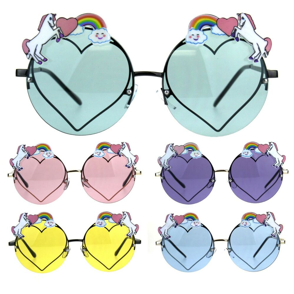 b4c8328e59 Details about Rainbow Unicorn Heart Metal Pin Rimless Round Hippie  Sunglasses