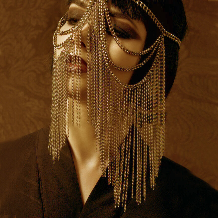 Details about Arabic Indian Egypt Headwear Belly Dance Turkish Chain Face  Mask Veil Metal Sexy