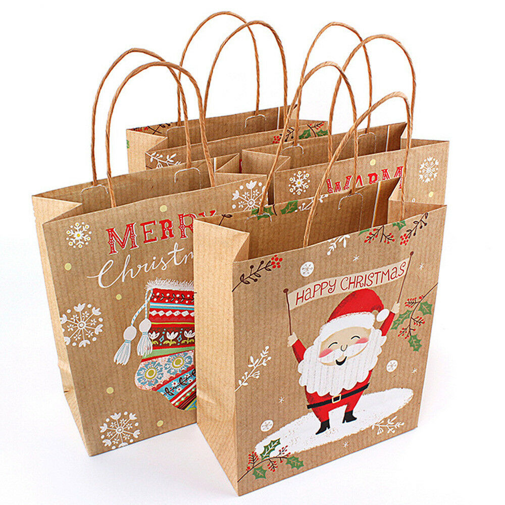 1/10Pcs Christmas Kraft Paper Gift Bags Brown With Handle ...