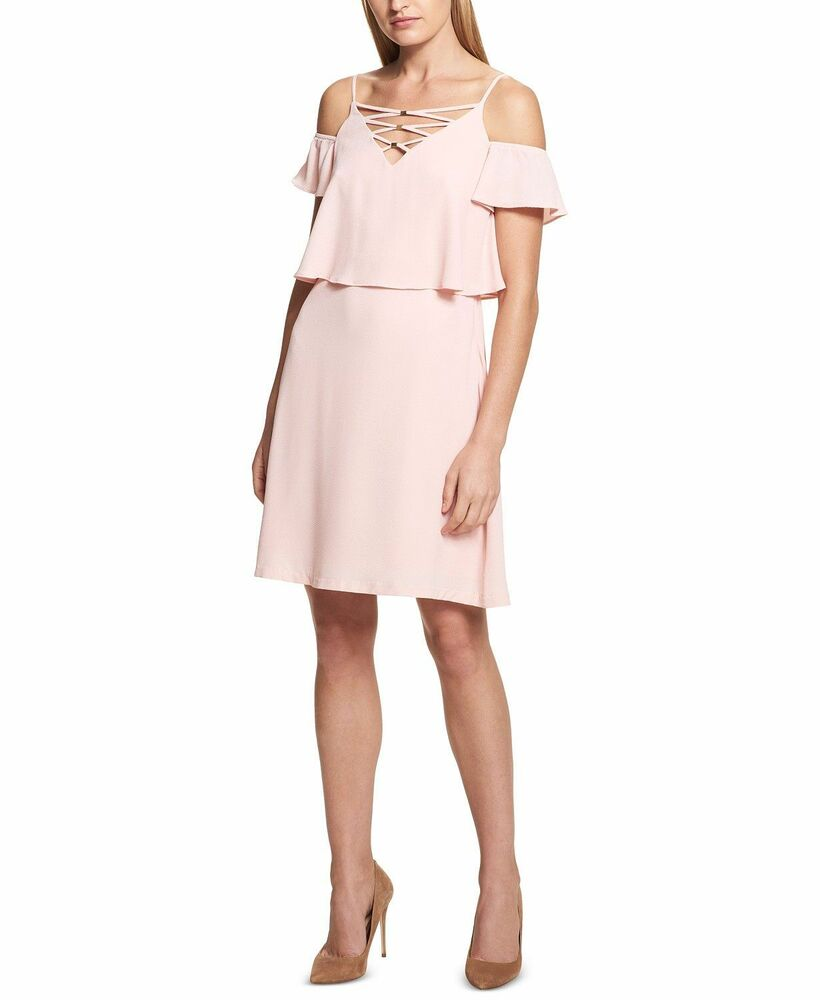 3d30d9c5b8 Details about  198 KENSIE Womens PINK LACE-UP-NECK COLD-SHOULDER FLARED  SHIFT DRESS SIZE 2