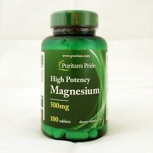 Puritan's Pride High Potency Magnesium 500 mg 100 Tablets Dietary Supplement