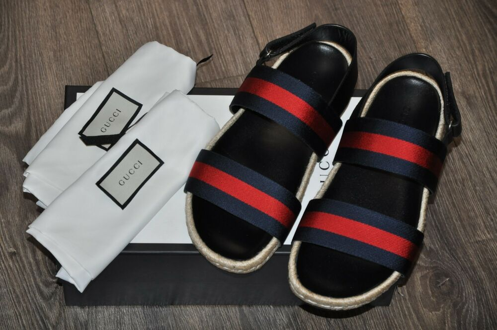 9d08f0adffb2 Details about Authentic New Gucci Blue Red Web Strap Sandal