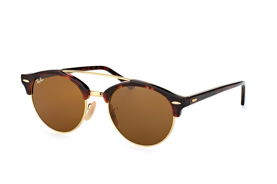 032d7fbd95ea5 Ray Ban RB4346-990 33-51 Round Brown Clubround Double Bridge Tortoise  Sunglasses