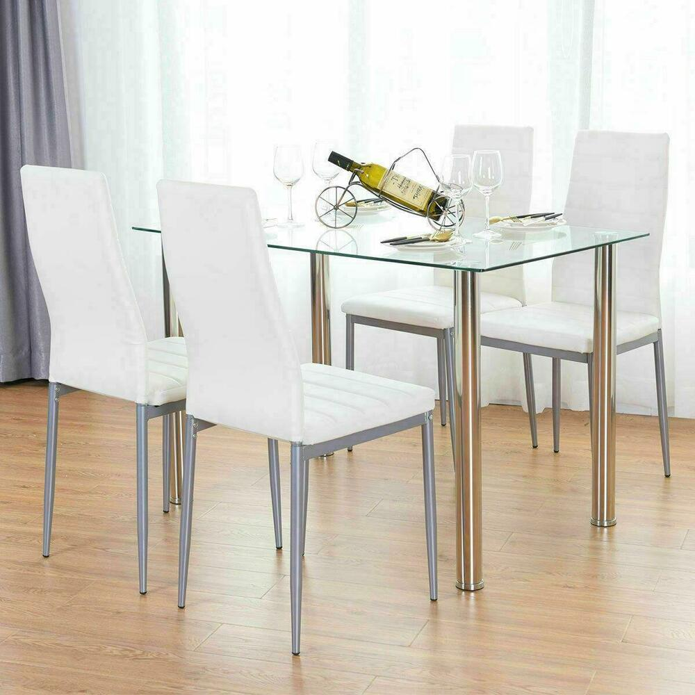 5 Piece Dining Table Set White 4 Chair Glass Metal Kitchen