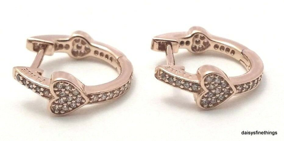 67216585e Details about NWT AUTHENTIC PANDORA ROSE™ EARRINGS ALLURING HEARTS HOOPS  #287290CZ HINGED BOX