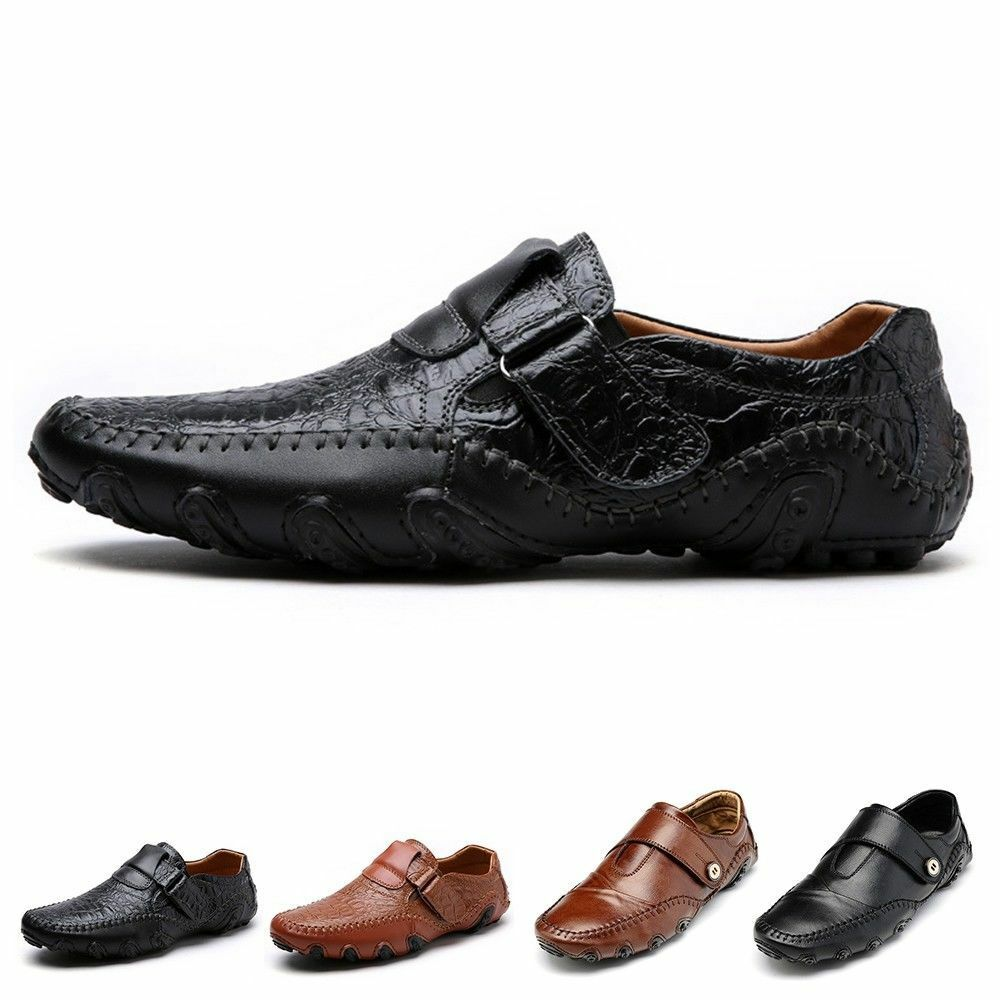 7115e841551 Details about Genuine Leather Mens Casual Loafers Breathable Driving Shoes  Slip On Moccasins