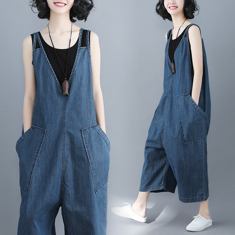 1508532b341 Details about Womens Casual Denim Overalls Bib Pants Wide Leg Jumpsuits  Jeans Loose Trousers
