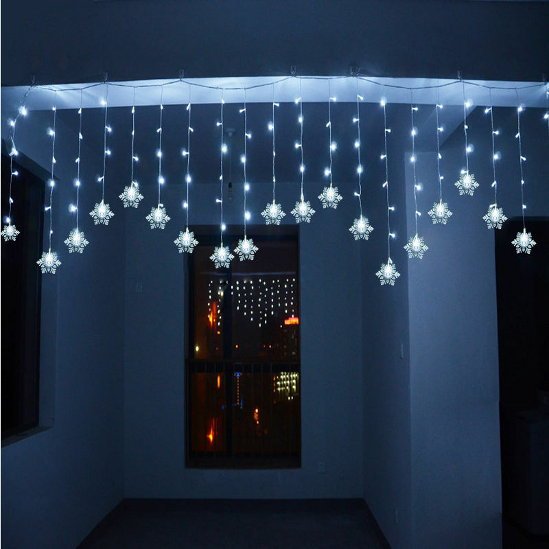 Details About 3m Curtain Window Display Snowflakes Christmas Outdoor Indoor Fairy Led Lights