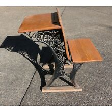Vintage Wood and Iron School Desk, 1900s Antique, Double