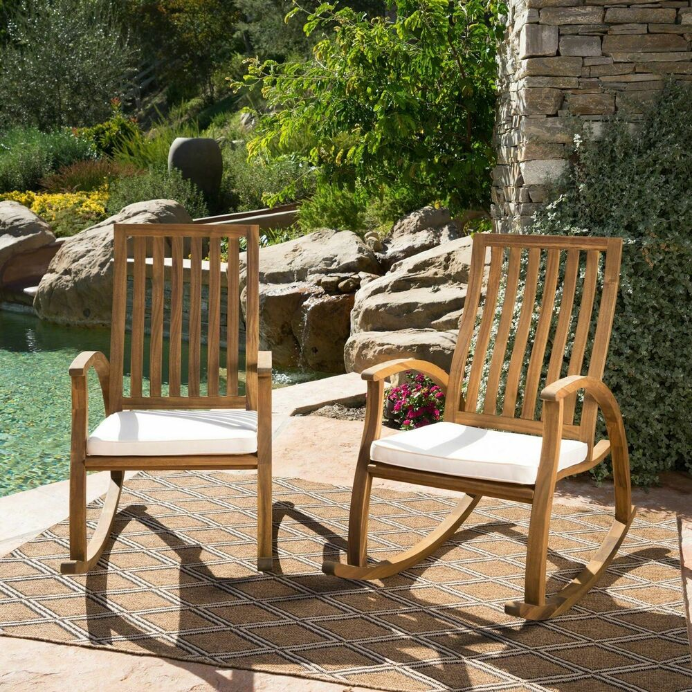 Cattan Outdoor Acacia Wood Rocking Chair With Water Resistant Cushions Set Of Ebay