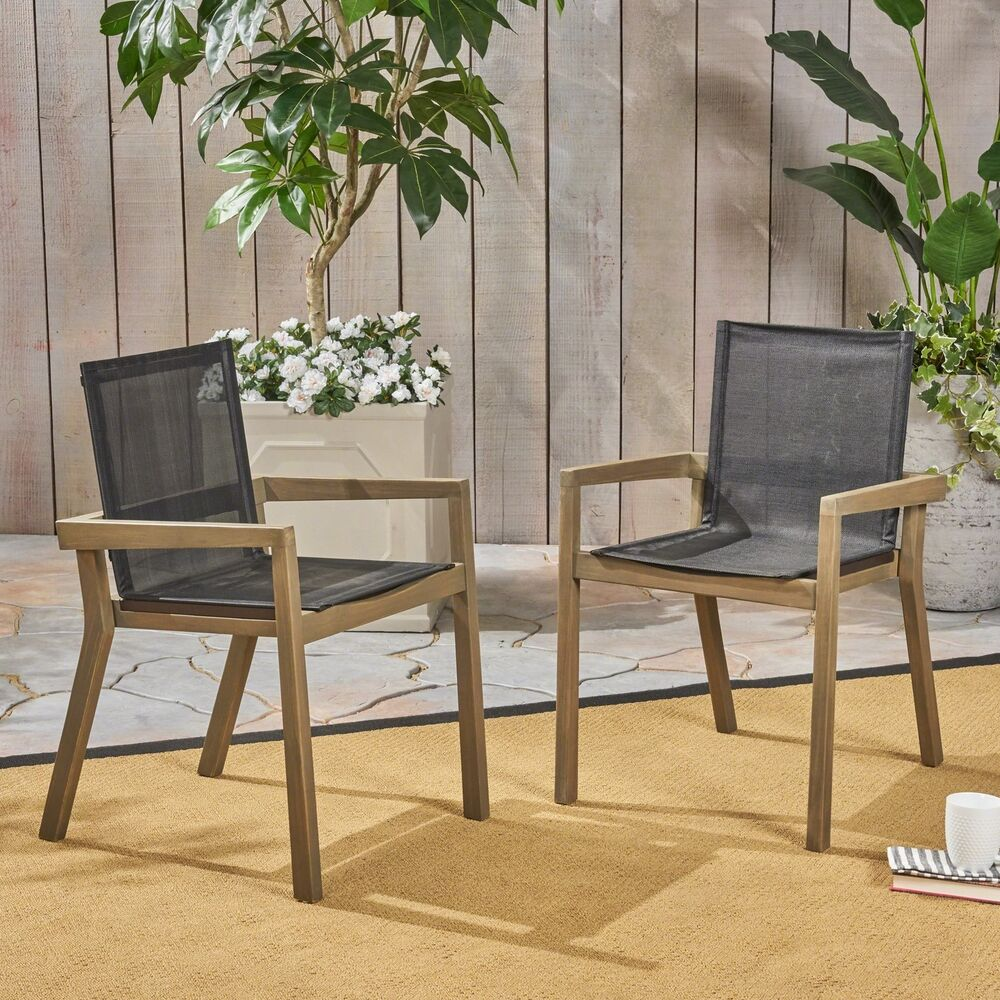 Details about jimmy outdoor acacia wood and mesh dining chairs set of 2