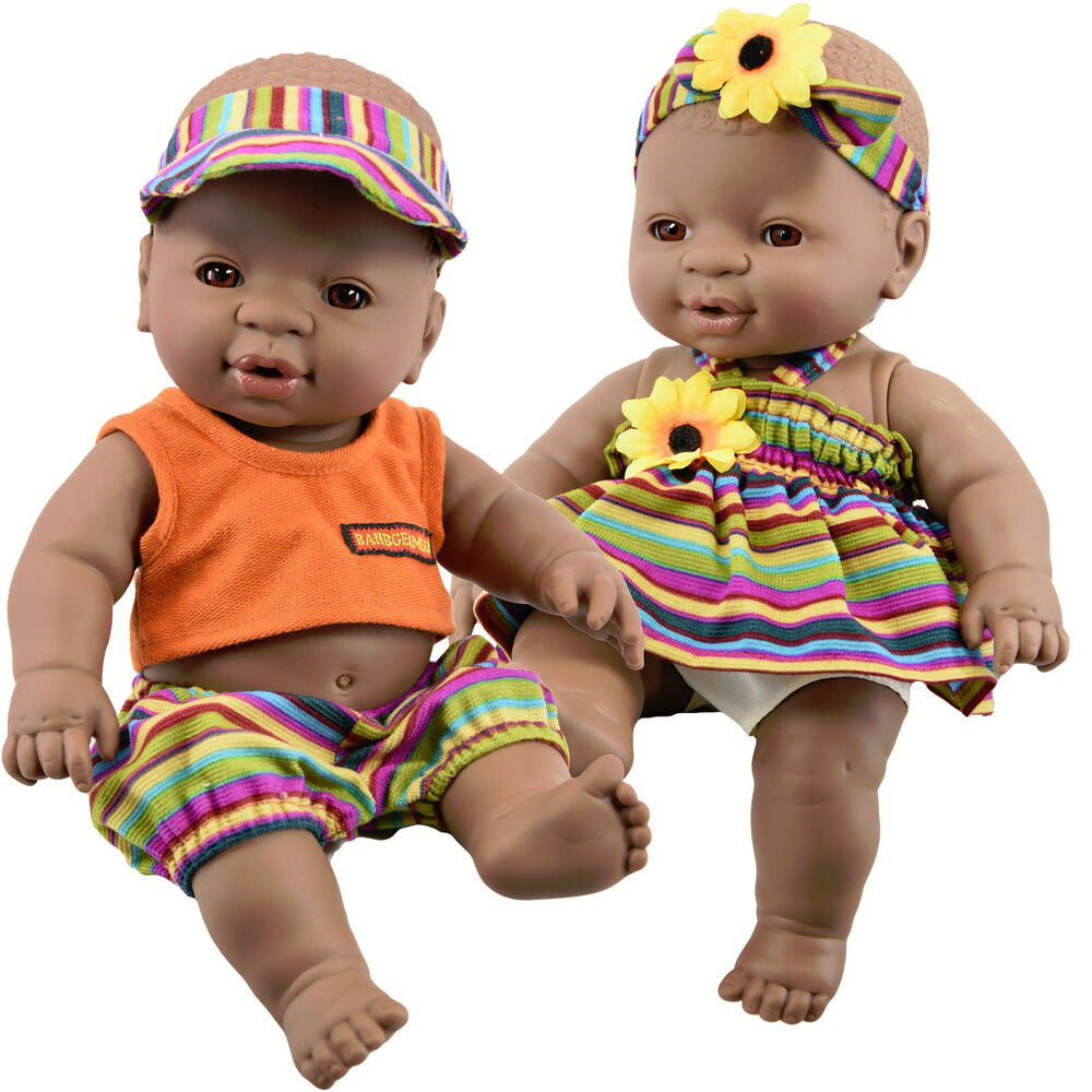 Details about anatomically correct black dark skin twin dolls ethnic african baby doll twins