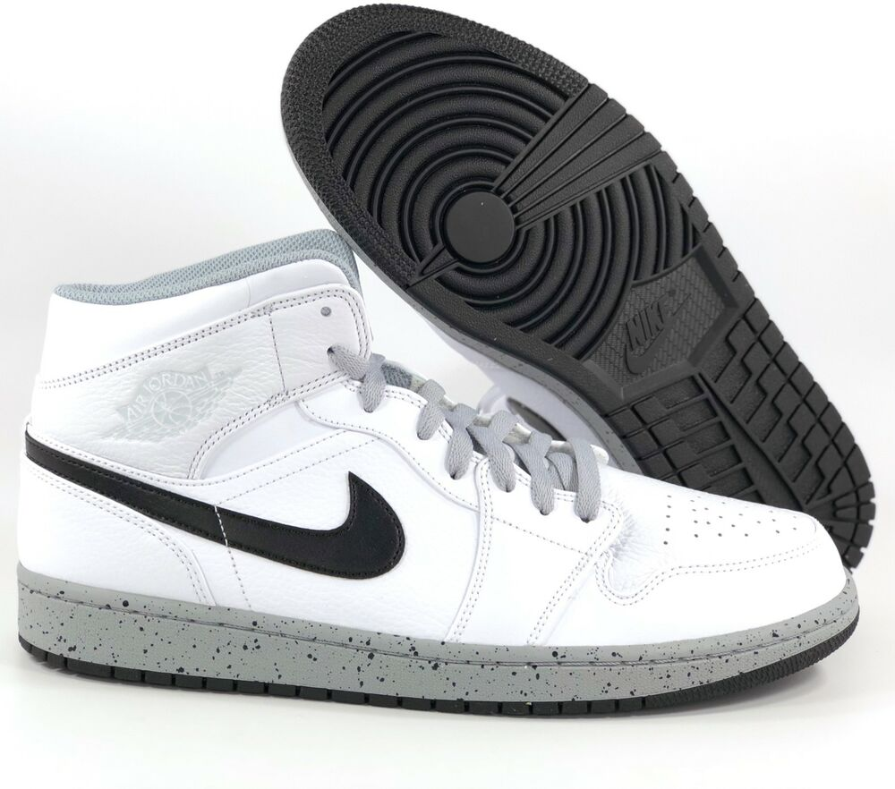 timeless design 3f9a5 693c0 Details about Nike Air Jordan 1 One Mid White Cement Wolf Grey Black  554724-115 Men s 12