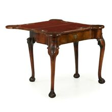 English George II Antique Carved Walnut Card Game Table, Ball Claw Feet c. 1750