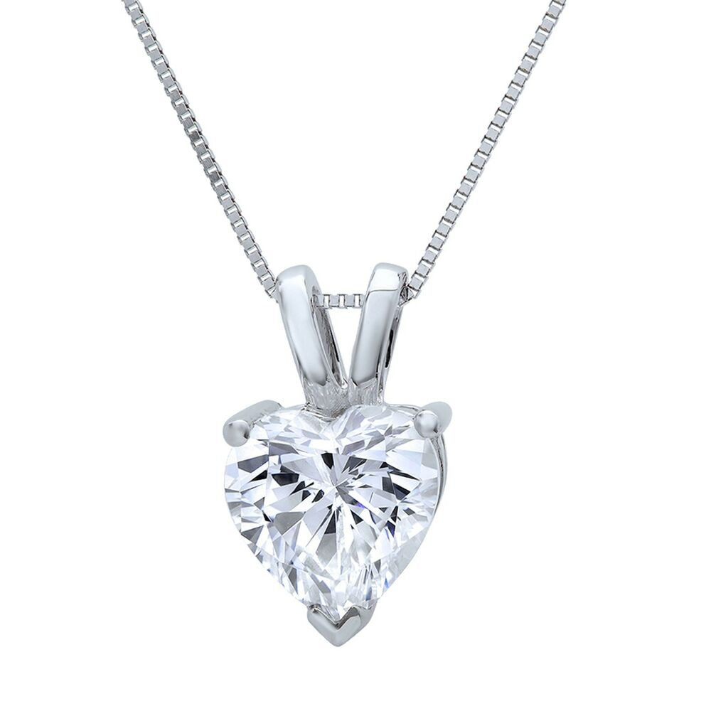 be30188c7 Details about 1 Ct Heart Cut Brilliant Diamond Pendant in Solid 14k White  Gold 16
