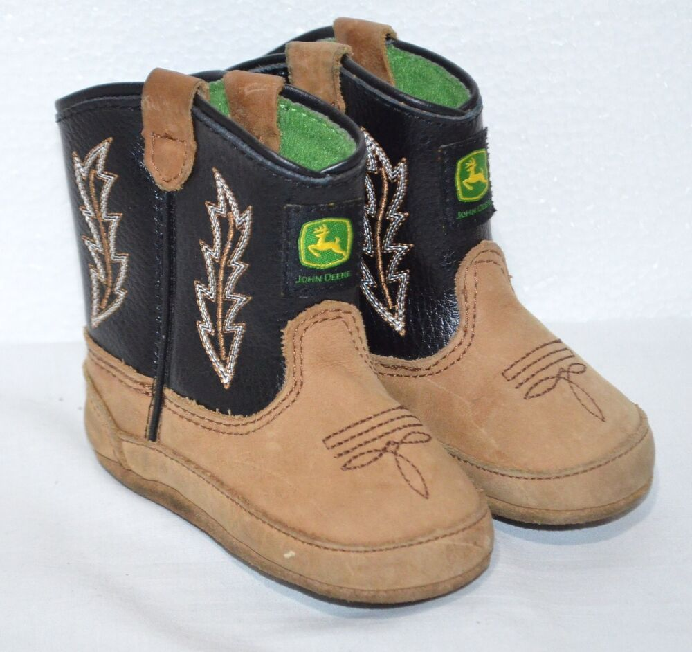 900d45808e702 Details about John Deere Infant Baby Boots Leather Brown Black Green Cowboy  Soft size 3-months