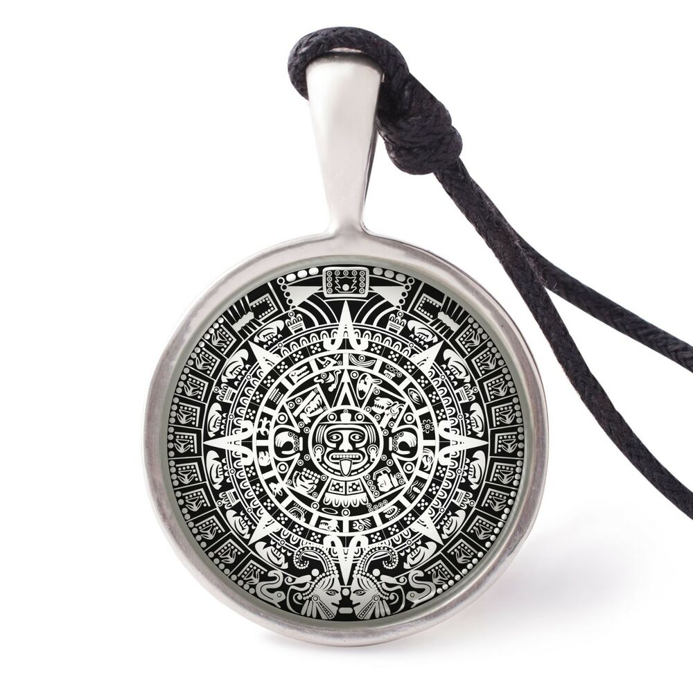 Details About Mayan Calendar Necklace Pendant Silver Pewter Key Chain Aztec American Indian