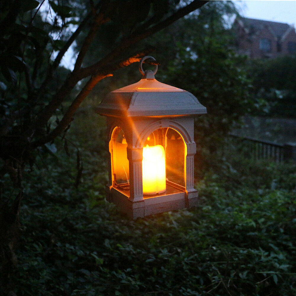 Details About Solar Lantern Candle Lights Waterproof Hanging Lamp Patio Lawn And Garden Decor