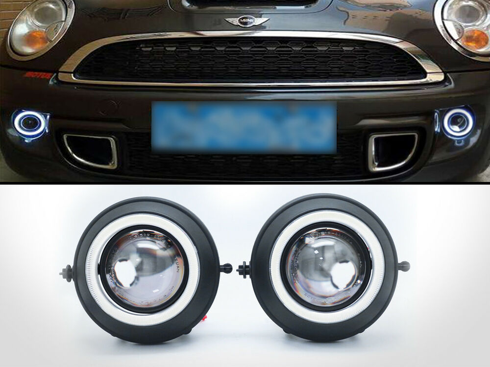 Details About Replacement Hid Ready Projector Fog Lights Led Halo Ring For Mini Cooper S R56