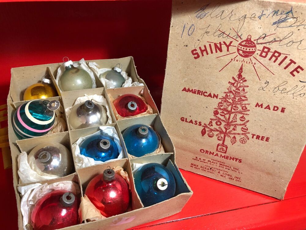 "SHINY BRITE Christmas Ornaments 1.75"" Balls Box 12 Antique ..."