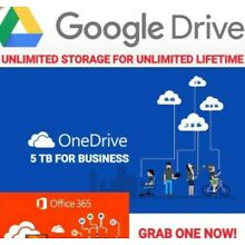 UNLIMITED FOR GOOGLE DRIVE + ONE DRIVE  5TB NEW ACC+ 365 MIC
