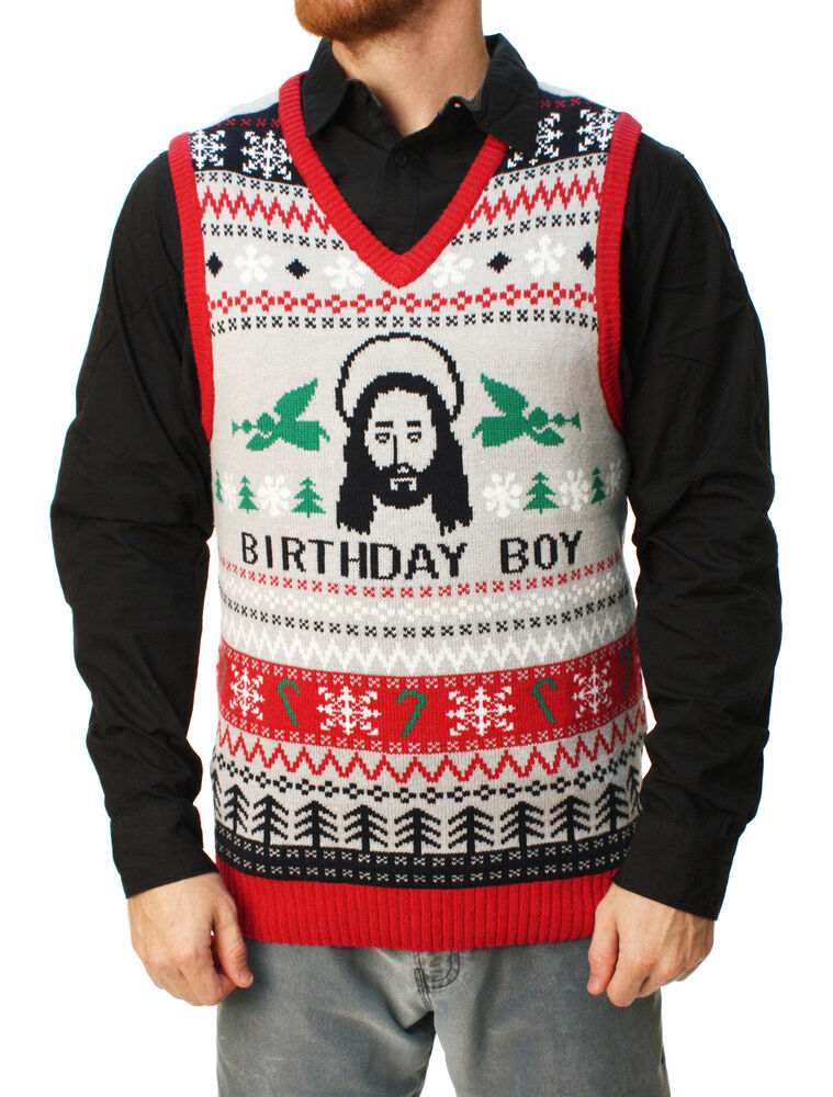 Ugly Christmas Sweater Men S Jesus Birthday Boy Vest Ebay