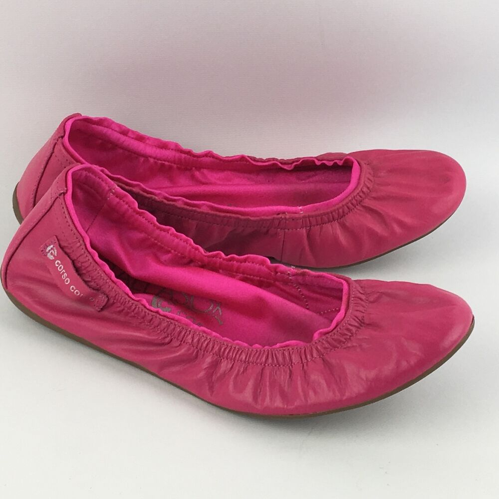 8cba10b3c6d Details about Womens Corso Como BallaSox 6 Hot Pink Leather Ballet Flats  Foldable Shoes