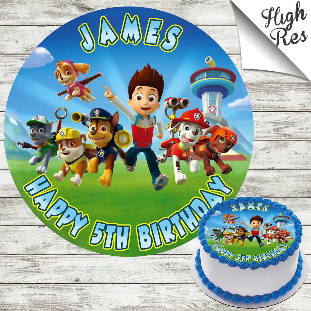 Details About PAW PATROL ROUND EDIBLE BIRTHDAY CAKE TOPPER DECORATION PERSONALISED