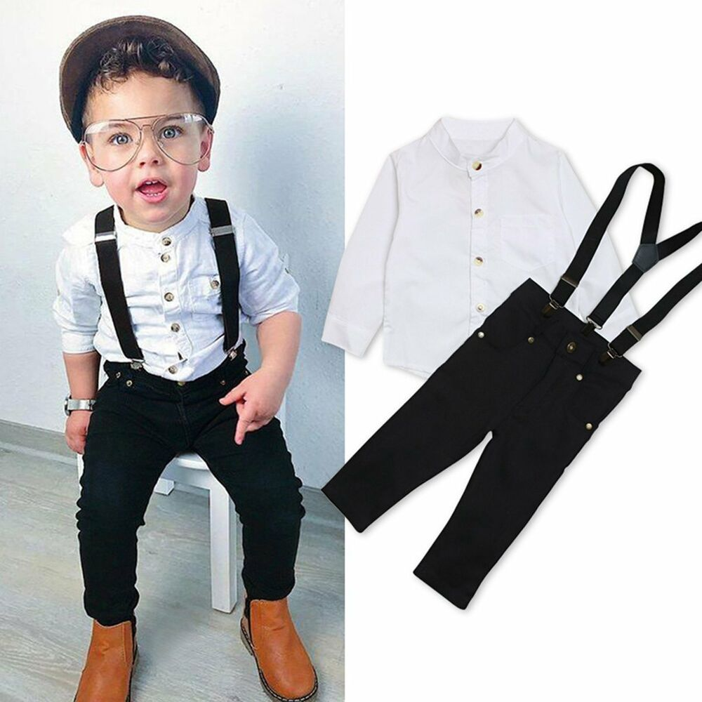 33bc999e3 2Pcs Toddler Kids Baby Boys Shirt Tops+Braces Pants Trousers Outfits ...