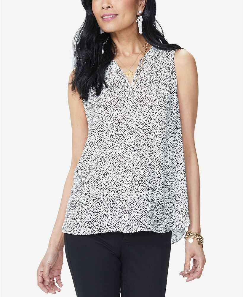 2b90297a Details about $120 NINE WEST WOMEN WHITE POLKA DOT PLEATED PRINTED BLOUSE  TOP PLUS SIZE M