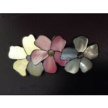 Handmade Genuine Tropical Abalone Shell Hair Barrette Triple flowers