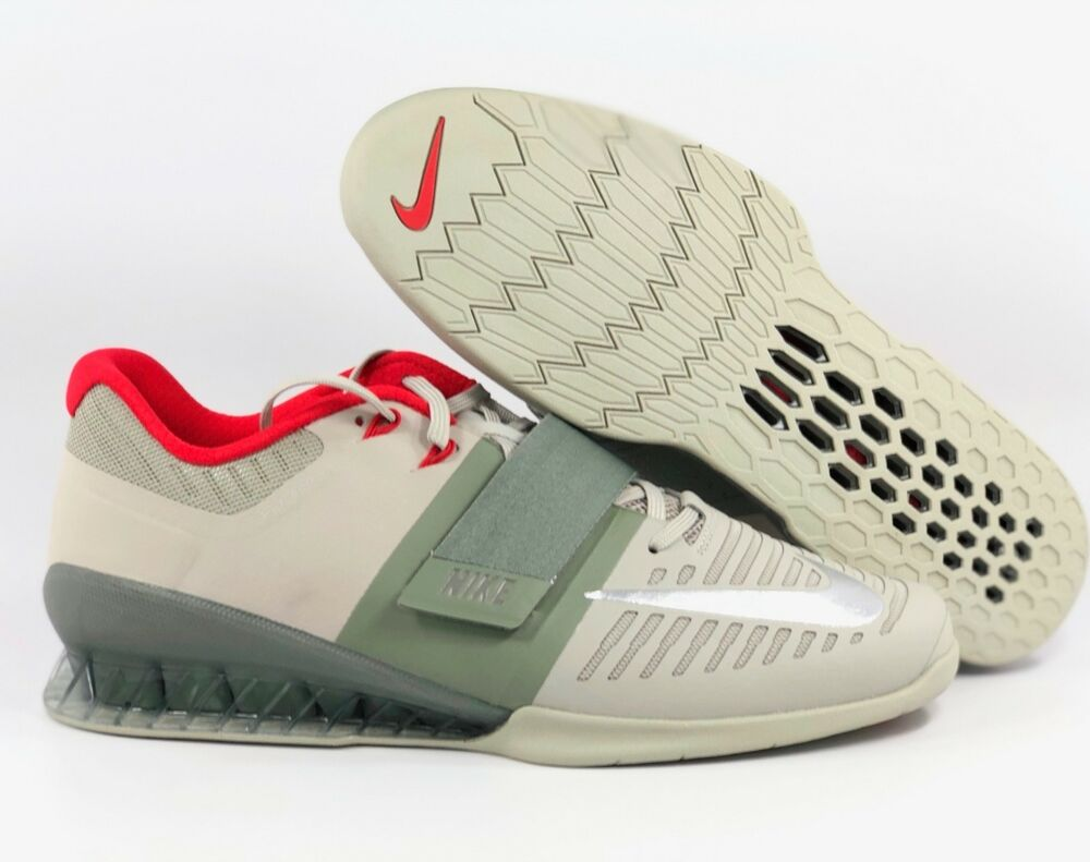 dde73b1c98ae Details about Nike Romaleos 3 Stucco Green Silver Weightlifting Shoes 852933-003  Men s 12.5-15